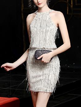 Tassel Decor Sleeveless Cocktail Dress