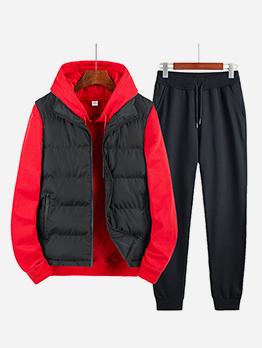 Casual Men Hoodies Waistcoat Three Piece Activewear Sets