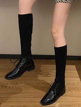 Vintage Patchwork Bandage Mid Calf Sock Boots