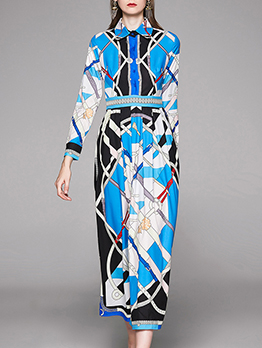Retro Printed Slim Shirt Maxi Dresses For Women