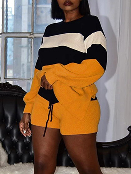 Contrast Color Striped Long Sleeve Two Piece Short Set