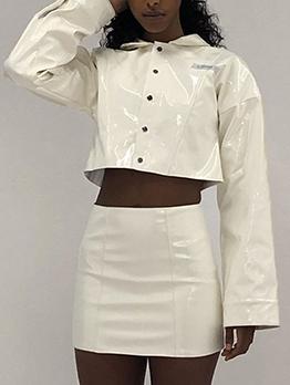 Pu Crop Top And High Waisted Skirt Set