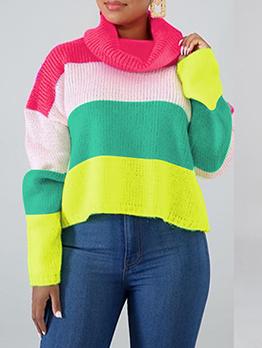 Contrast Color Striped Long Sleeve Turtleneck Sweater