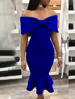 Ruffled Bowknot Design Off Shoulder Midi Dress