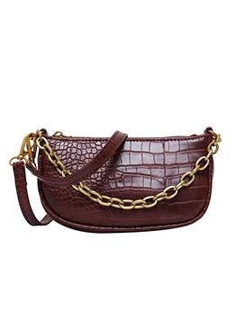 Easy Matching Alligator Print Solid Chain Shoulder Bag