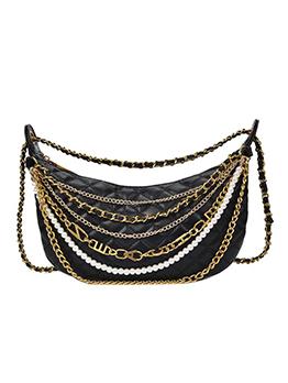 Multiple Chains Thread Rhombus Crossbody Shoulder Bag