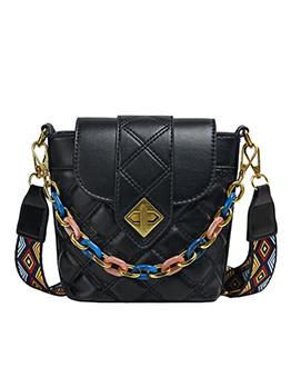 Trendy Spin Lock Rhombus Pattern Belt Chain Shoulder Bag