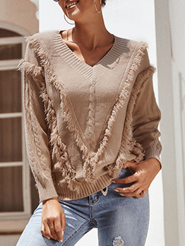 Tassel Pure Color V Neck Sweater