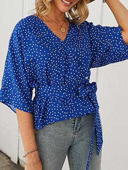 Casual Polka Dots Tie-Wrap Half Sleeve Ladies Blouse