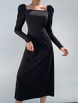 Square Neck Solid Slit Midi Black Dress