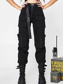 Pockets Black Zipper Up Cargo Pants