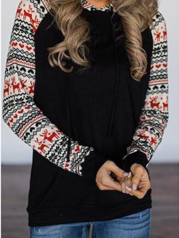 Christmas Deer Pattern Color Patchwork Pullover Hoodies