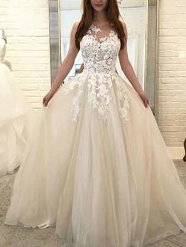 Embroidery Sleeveless Dresses For Weddings