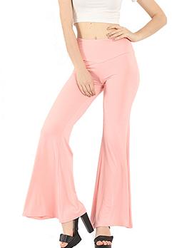Pure Color High Waist Flare Bottom Ladies Yoga Pants