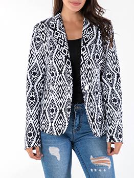 Geometric Print One Button Lapel Collar Ladies Blazer