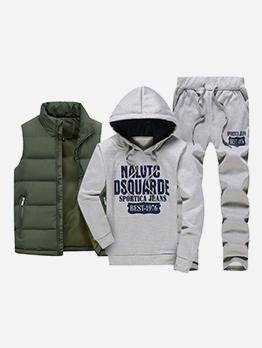 Thick Hoodies Waistcoat Three Piece Activewear Sets