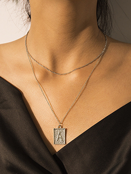 Double-Layer Letter Areembossed Pendant Necklace