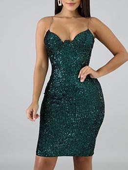 Sleeveless Sequin Dress For Women