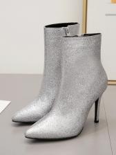 Glitter Solid Stiletto Sliver Winter Boots