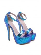 Gradient Color Animal Embossed Stiletto Platform Sandals