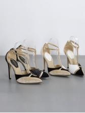 T-shaped Rivet Buckle Strap Stiletto Heels