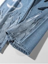 Hip-Pop Number Printing Wide Leg Jeans