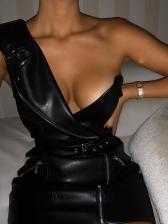 Fashion Pu Black Sleeveless Sheath Dress