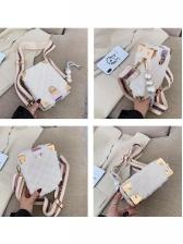 Lambswool Rhombus Pearl Pendant Rectangle Shoulder Bag