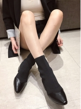 Fashion Patchwork Ribbed Sock Boots