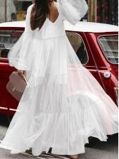 Puff Sleeve V Neck Large Hem Long Maxi Dress