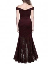 Irregular Hem Fitted Lace Long Evening Dress