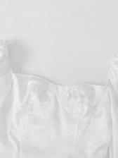 Vintage Puff Sleeve Jacquard Weave White Ladies Dress