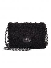 Solid Spin Lock Lambswool Ladies Chain Shoulder Bag