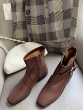 British Style Buckle Strap Side Zipper Booties