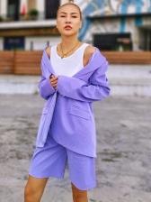 Boutique Lapel Solid Casual Blazer With Short Pants