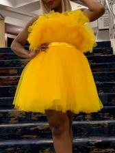 Sexy Strapless Gauze Bubble Dress