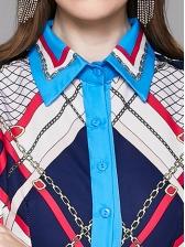 Vintage Print Slim Shirt Long Sleeve Maxi Dress