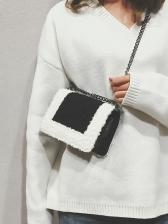 Trendy Color Patchwork Lambswool Chain Shoulder Bag