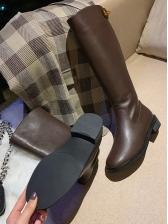 Solid Low Heel Metal Splicing Mid Calf Boots