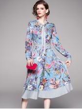 Bowknot Neck Floral Long Sleeve Midi Dress