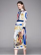 Elegant Contrast Color Printed Shirt Dress