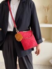 Plush Ball Pendant Thread Rhombus Frosted Bucket Bags