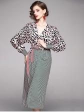 Leopard Striped Patchwork Stylish Midi Dress