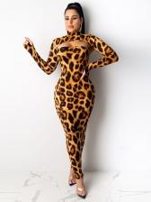Stylish Leopard Camouflage Two Piece Dress Set