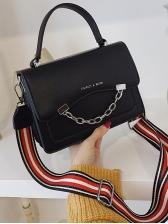 Chain Decor Stripes Wide Belt Shoulder Bag With Handle