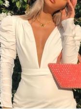 Sexy Deep v White Long Sleeve Bodycon Dress