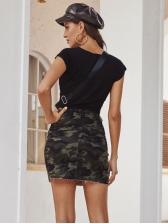 Camouflage Zipper Up Denim High Waisted Skirt