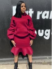 Solid Loose Hoodie Ruffled Detail 2 Piece Skirt Set