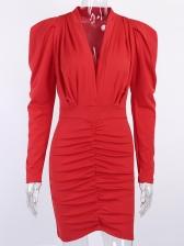 Graceful Ruched Long Sleeve v Neck Dress