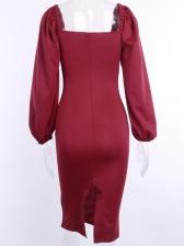 Low Cut Solid Puff Sleeve Midi Dress
